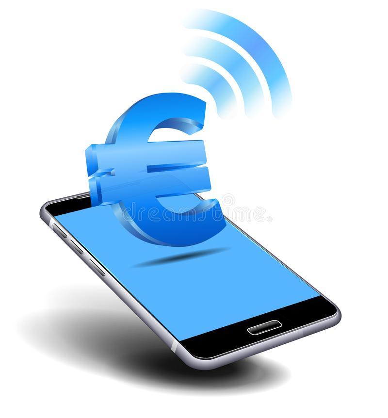 Pay Cash Euro by Mobile Smart Cell Phone stock illustration
