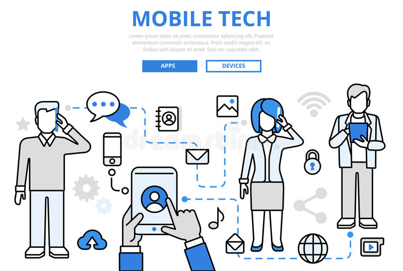 Mobile tech communication concept flat line art vector icons royalty free illustration
