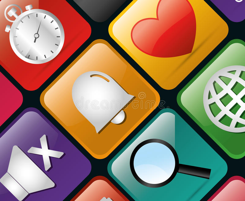 Mobile technology applications. Graphic icons, vector illustration design royalty free illustration