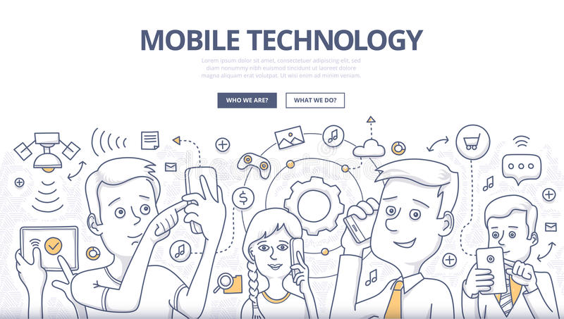 Mobile Technology Doodle Concept. People share digital information with mobile devices. Doodle design style concept of mobile technology, wireless communication