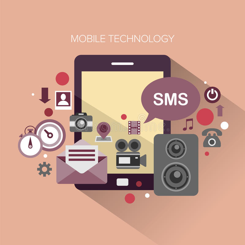 Mobile Technology. Flat design stylish vector illustration megaphone with cloud of colourful application icons on mobile theme. Mobile technology concept. on royalty free illustration