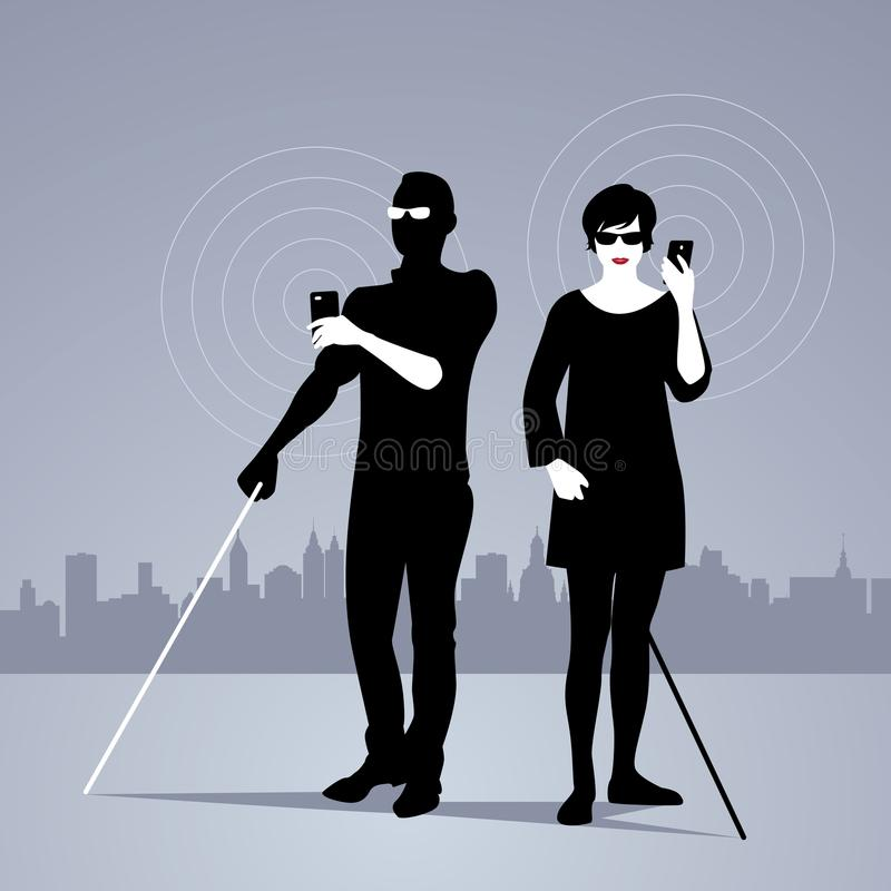 Mobile Technology for People with Visual Impairments. Couple of blind people using smartphones with adapted technology royalty free illustration