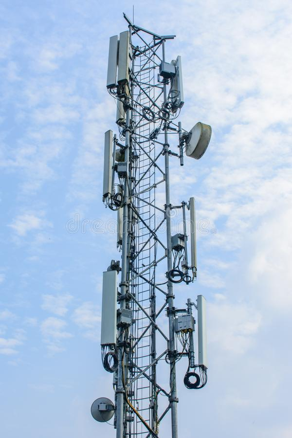 Mobile telecom tower with blue sky stock image