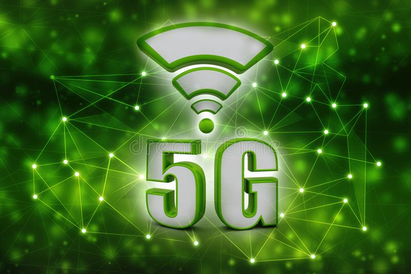 5g Internet Concept, Tablet with 5g sign in technology background. Mobile telecommunication cellular high speed data connection business concept: 5G wireless royalty free illustration