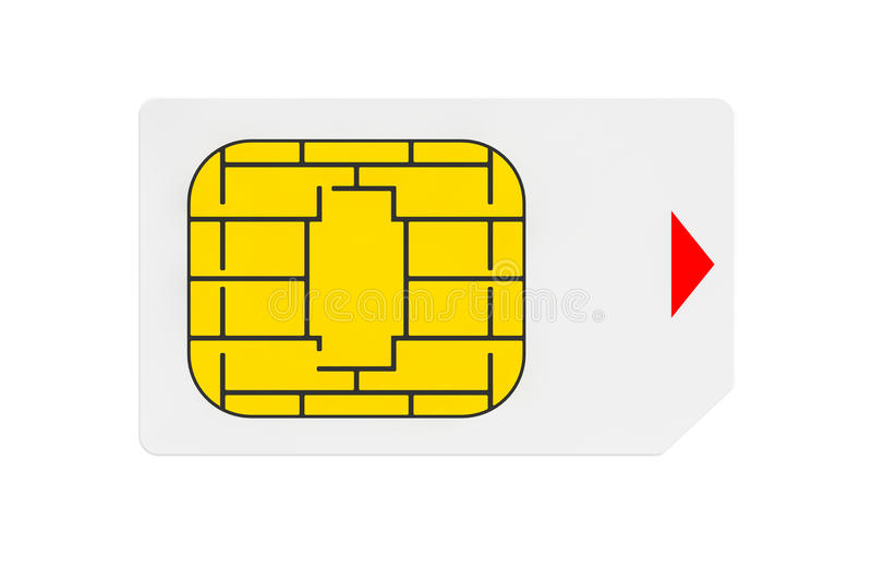 Mobile Telecommunication Concept. Macro View of Sim Card. On a white background royalty free stock photo