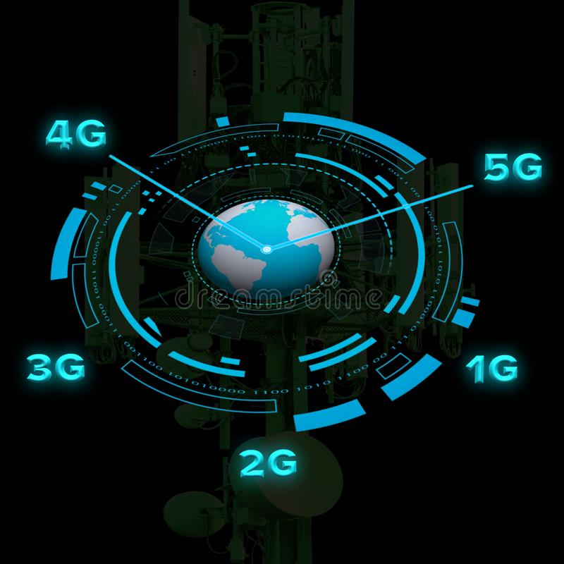 Mobile telecommunication network concept. With circular HUD element with a cell tower on a black background stock illustration