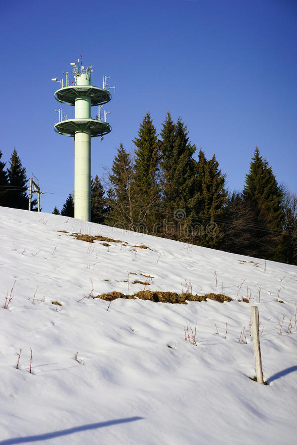 Download Mobile Telephone Antenna Tower On Mountain Stock Image - Image of telecommunication, landscape: 37915661