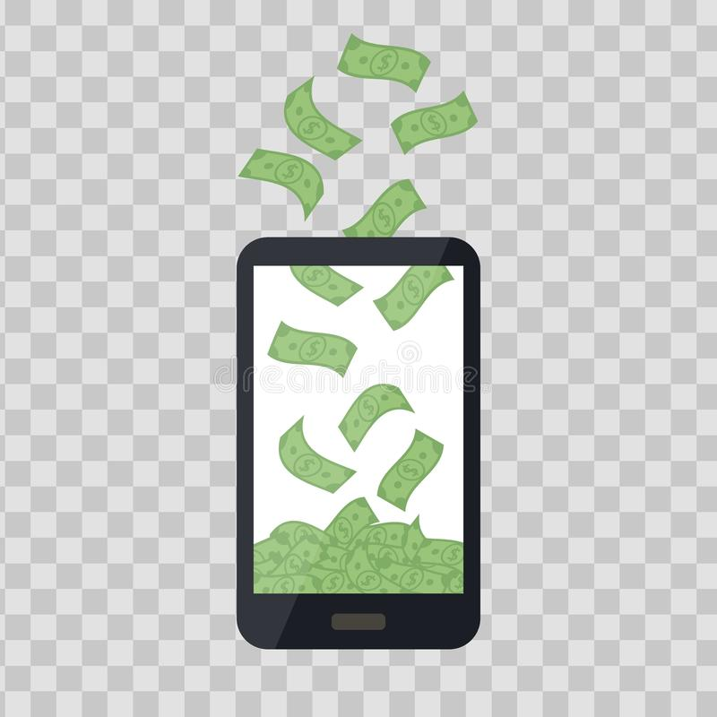 Mobile telephone with money pile on transparent background. Cash banknotes heap, falling dollars. Commercial banking stock illustration