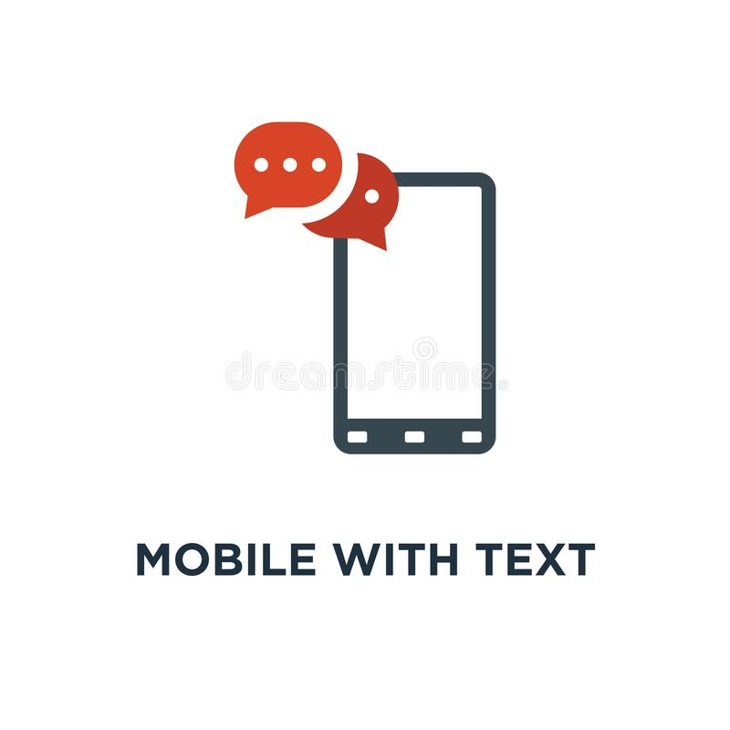 mobile with text message icon. sms, communication concept symbol royalty free illustration