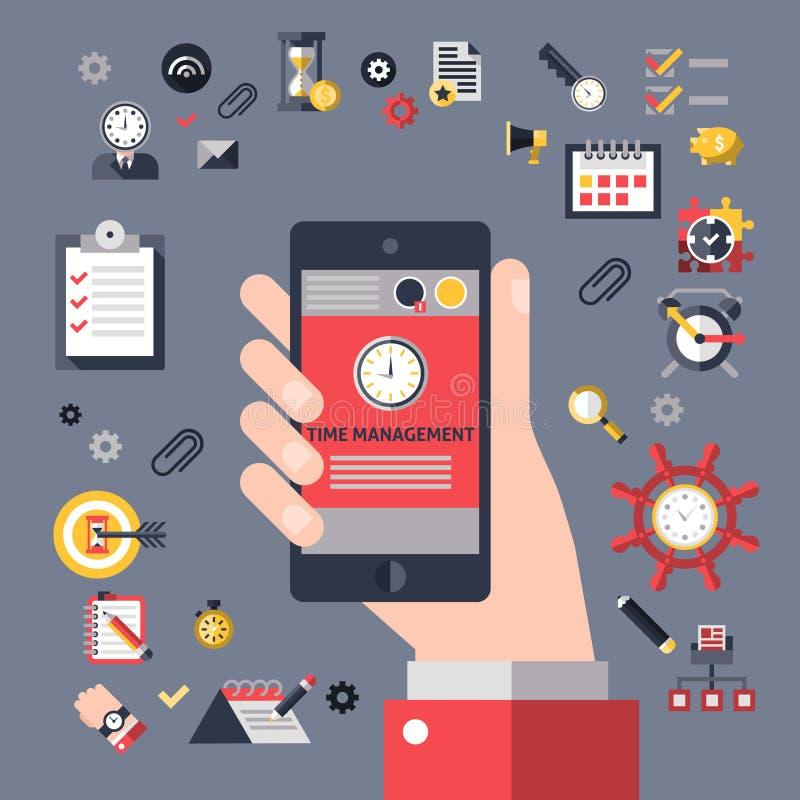 Mobile time management royalty free illustration