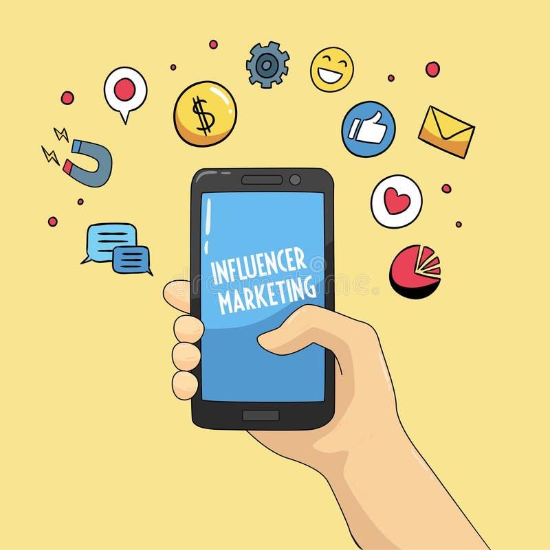 Mobile tiré par la main et icônes de commercialisation d'Influencer illustration stock