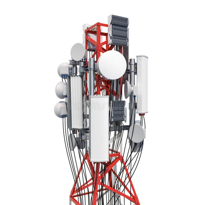 Mobile tower with cellular phone antennas, antenna tower. 3D rendering. Isolated on white background stock illustration