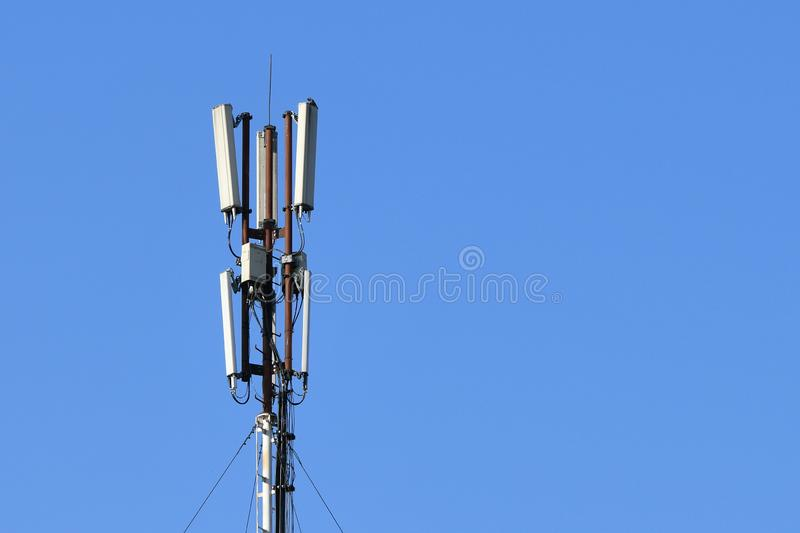 Mobile tower. Compound 5g. Mobile connection. High speed internet concept. technology concept of the future mobile network. Internet of things royalty free stock images