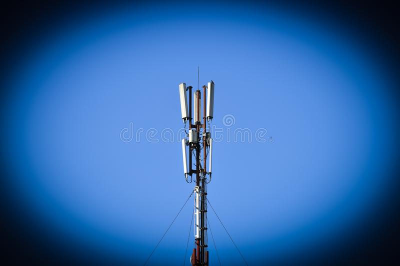 Mobile tower. Compound 5g. Mobile connection. High speed internet concept. technology concept of the future mobile network. Internet of things royalty free stock photo