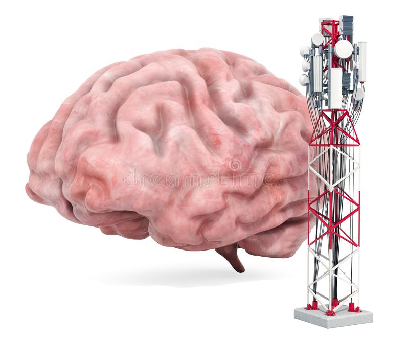 Mobile tower effect on human brain. 3D rendering. Isolated on white background vector illustration
