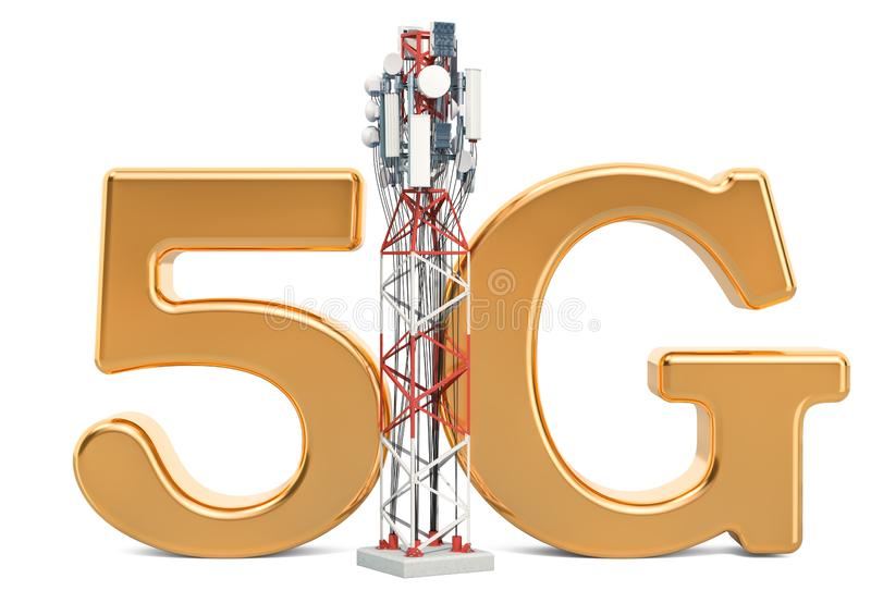 Mobile tower, 5G concept. 3D rendering. Isolated on white background stock illustration