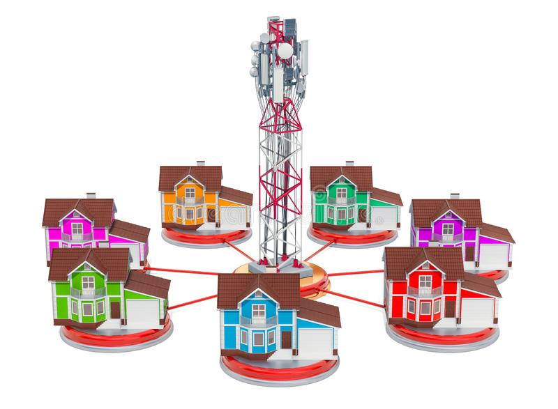 Mobile tower with houses around, mobile communication concept. 3D rendering. Isolated on white background stock illustration
