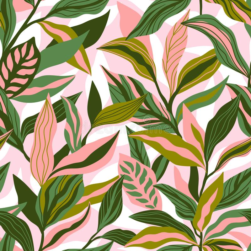 Tropical leaves hand drawn seamless pattern. Botanical trendy design in pink and green colors. Vector repeating design for fabric,. Wallpaper or wrap papers stock illustration
