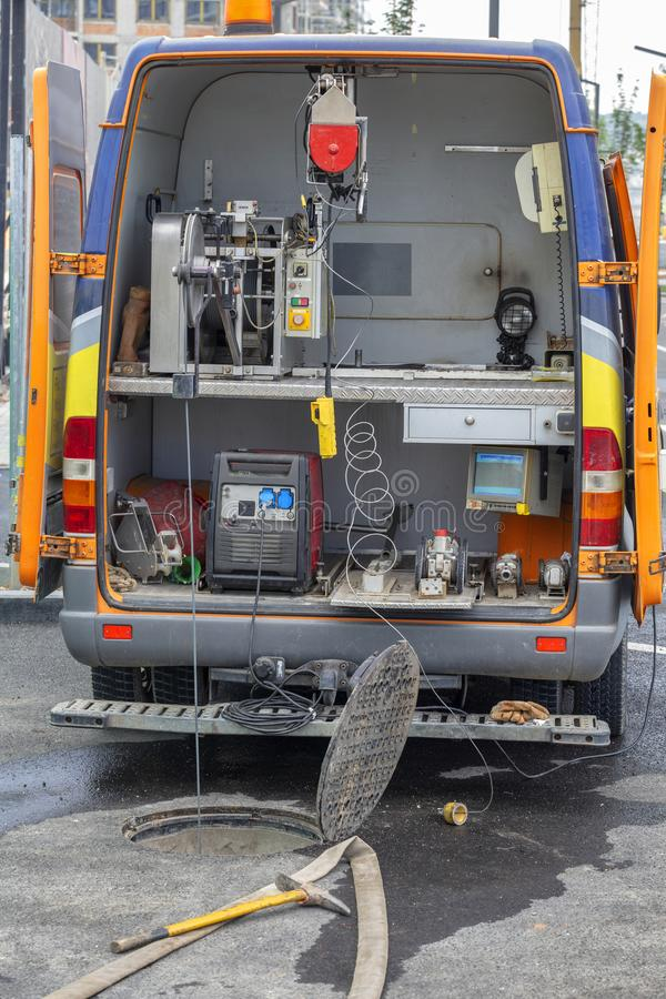 Mobile TV inspection vehicle for the examination of sewers stock photos