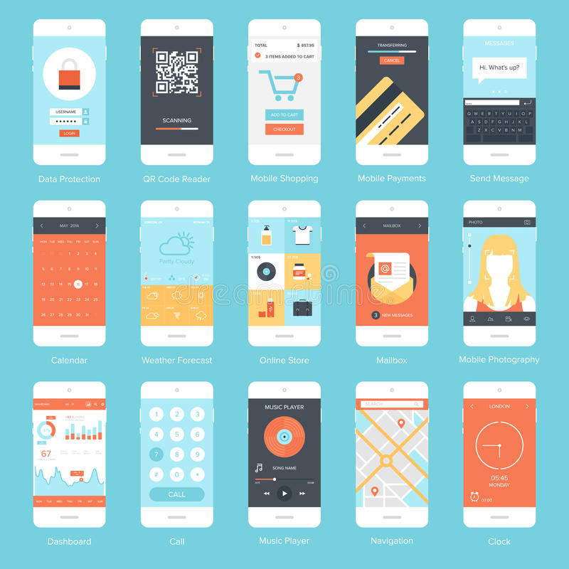 Mobile UI. Flat vector collection of modern mobile phones with different user interface elements