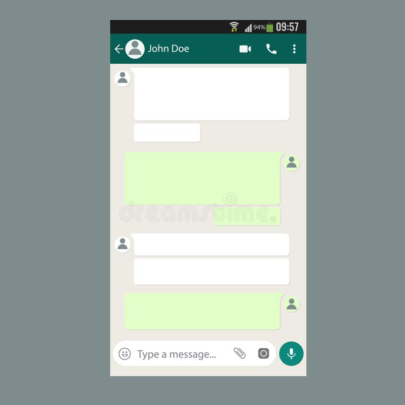 Mobile UI Kit Chat App Template On Smartphone Screen. Stock Vector ...