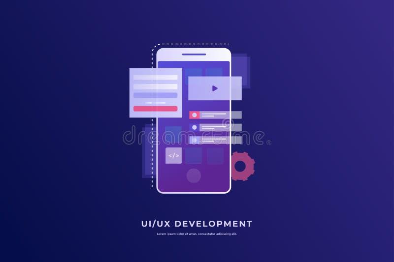 Mobile UI/UX design. Digital Technologies. Development of mobile applications. vector illustration