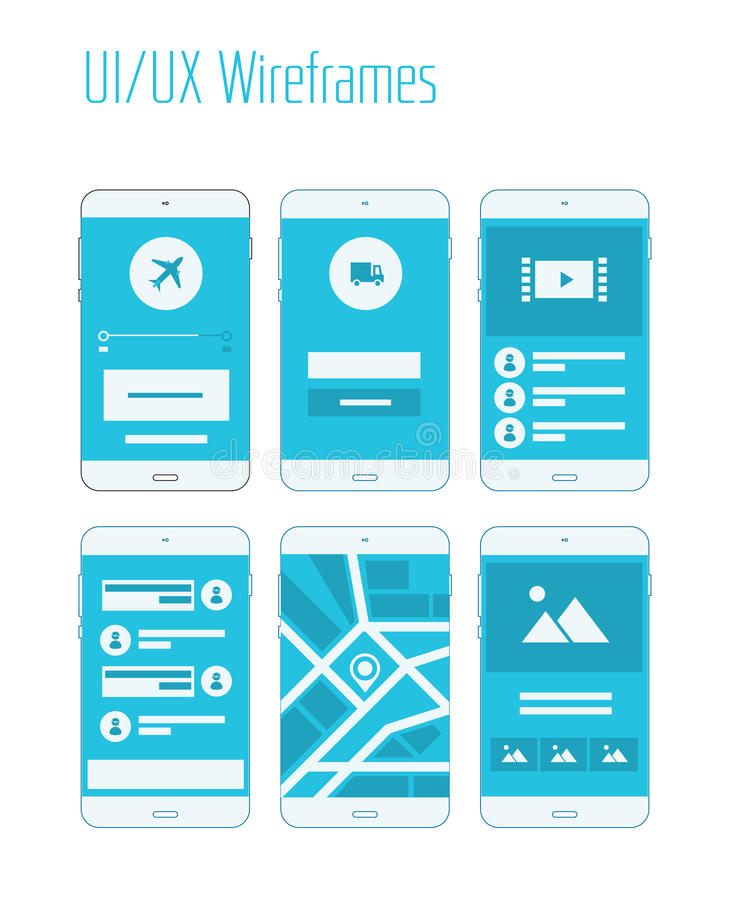 Mobile UI and UX Wireframes Kit. Mobile website and application responsive sitemap templates stock illustration