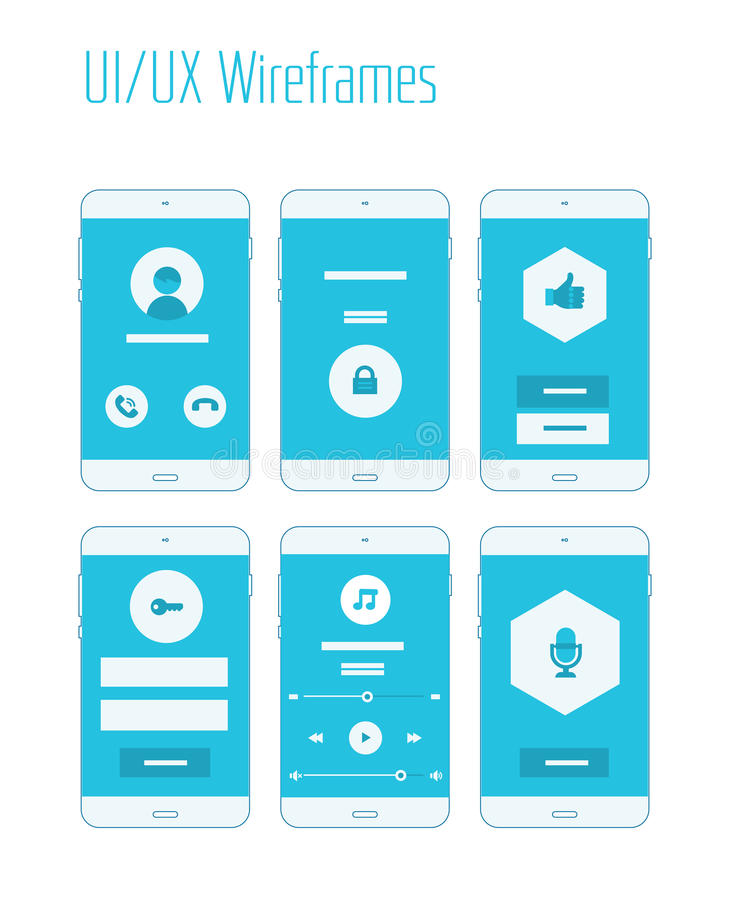 Mobile UI and UX Wireframes Kit. Mobile website and application responsive sitemap templates royalty free illustration