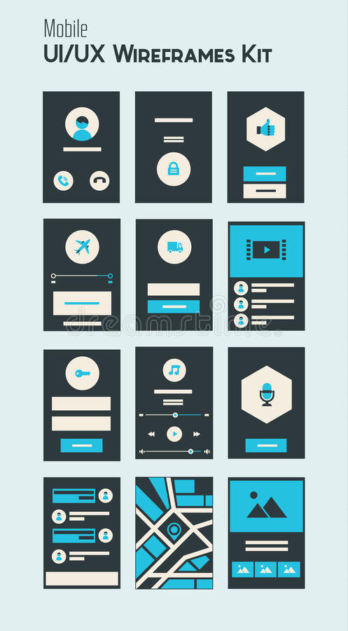 Mobile UI and UX Wireframes Kit royalty free illustration