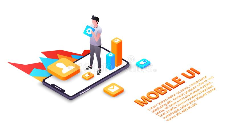 Mobile phone user interface vector illustration. Mobile UI vector illustration of smartphone user interface or UX applications on display. Isometric design of royalty free illustration