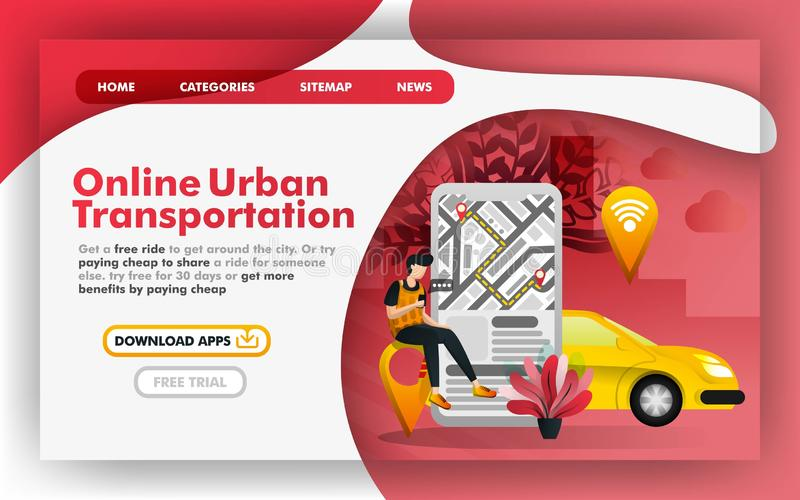Mobile urban city transportation Flat Vector Illustration Concept, Online delivery taxi service. Easy to use for website, banner, stock illustration