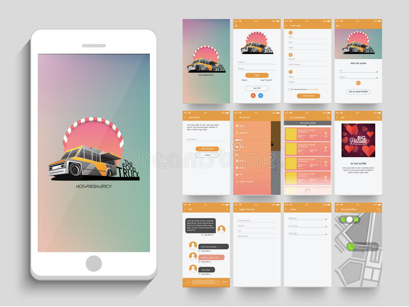 Mobile User Interface kit with different screens. stock illustration