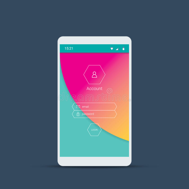 Mobile user interface screen with material design background. Login menu icons and buttons on pink, green backdrop. Eps10 vector illustration stock illustration