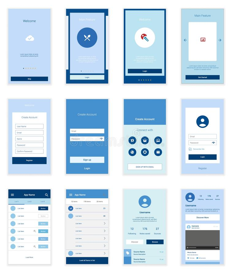 Mobile User Interface 35 Screens Wirefrme Kit for. Mobile Screens User Interface Kit. Modern user interface UX, UI screen template for mobile smart phone or vector illustration