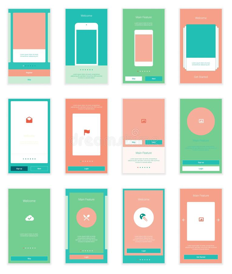 Mobile User Interface 35 Screens Wirefrme Kit for stock illustration