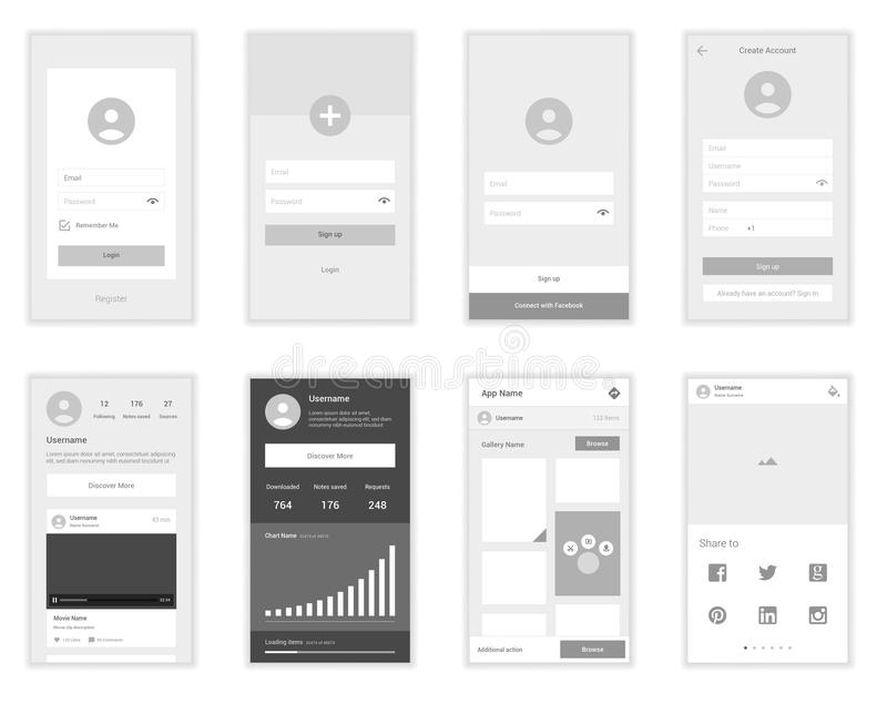 Mobile User Interface Screens Wirefrme Kit for vector illustration