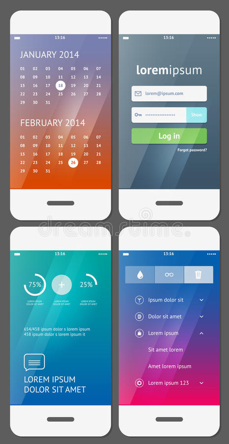 Mobile user interface template royalty free illustration