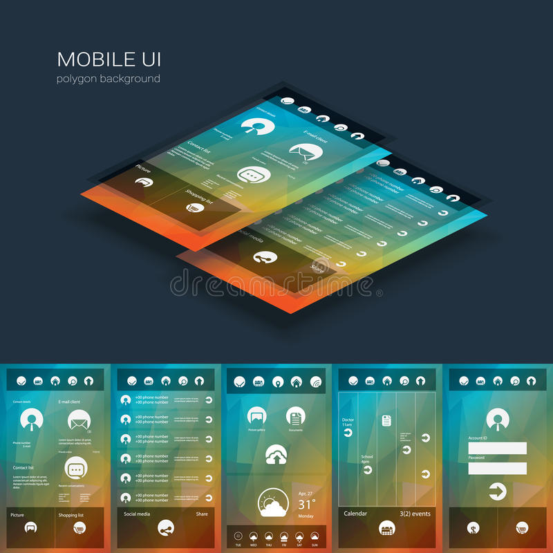 Mobile user interface vector template. Smartphone. Ui with flat design icons on low poly background. Eps10 vector illustration royalty free illustration
