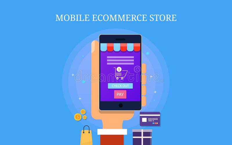 Mobile ecommerce store, mobile app for ecommerce website, digital marketing concept. Flat design vector banner. Mobile user purchasing product, ecommerce store stock illustration