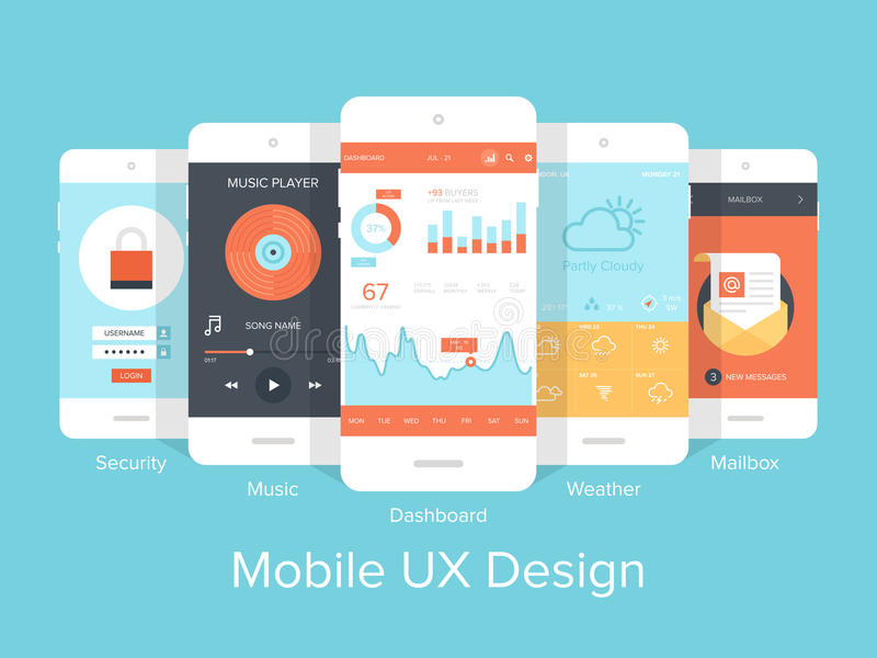 Mobile UX. stock illustration