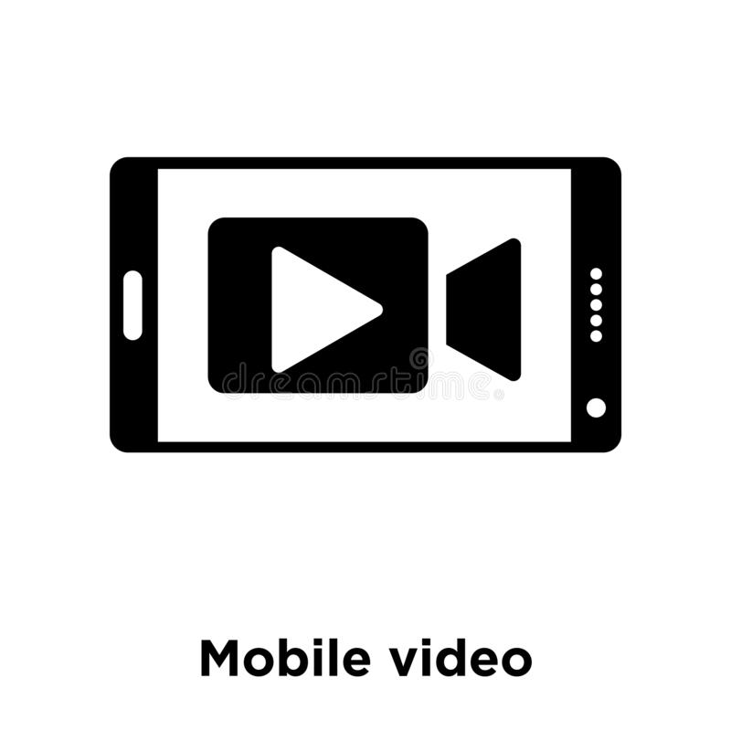 Mobile video icon vector isolated on white background, logo concept of Mobile video sign on transparent background, black filled. Mobile video icon vector vector illustration