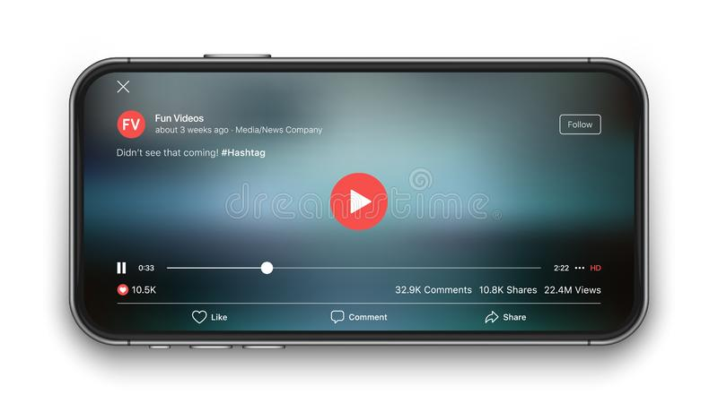 Mobile Video Player Vector UI Concept stock illustration