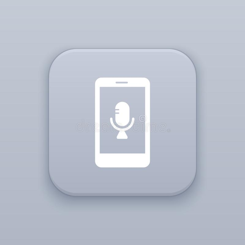 Mobile voice recorder, gray vector button with white icon. On gray background vector illustration