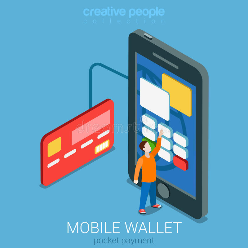 Mobile wallet payment transaction flat 3d vector isometric royalty free illustration
