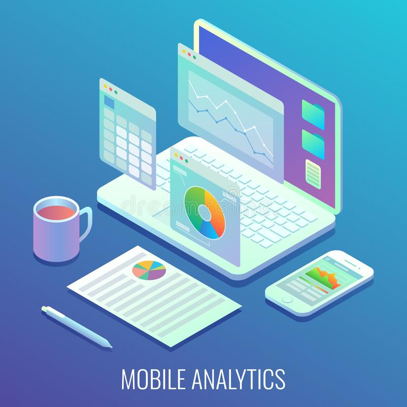 Mobile web analytics concept vector flat isometric illustration stock illustration