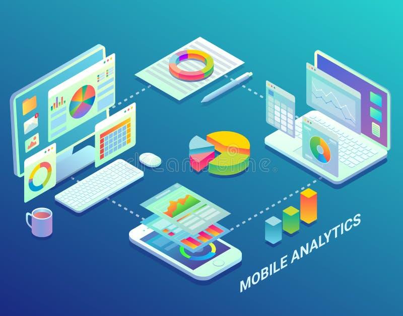 Mobile web analytics infographic, vector flat isometric illustration. Mobile web analytics infographic design template. Vector flat isometric mobile analytics vector illustration