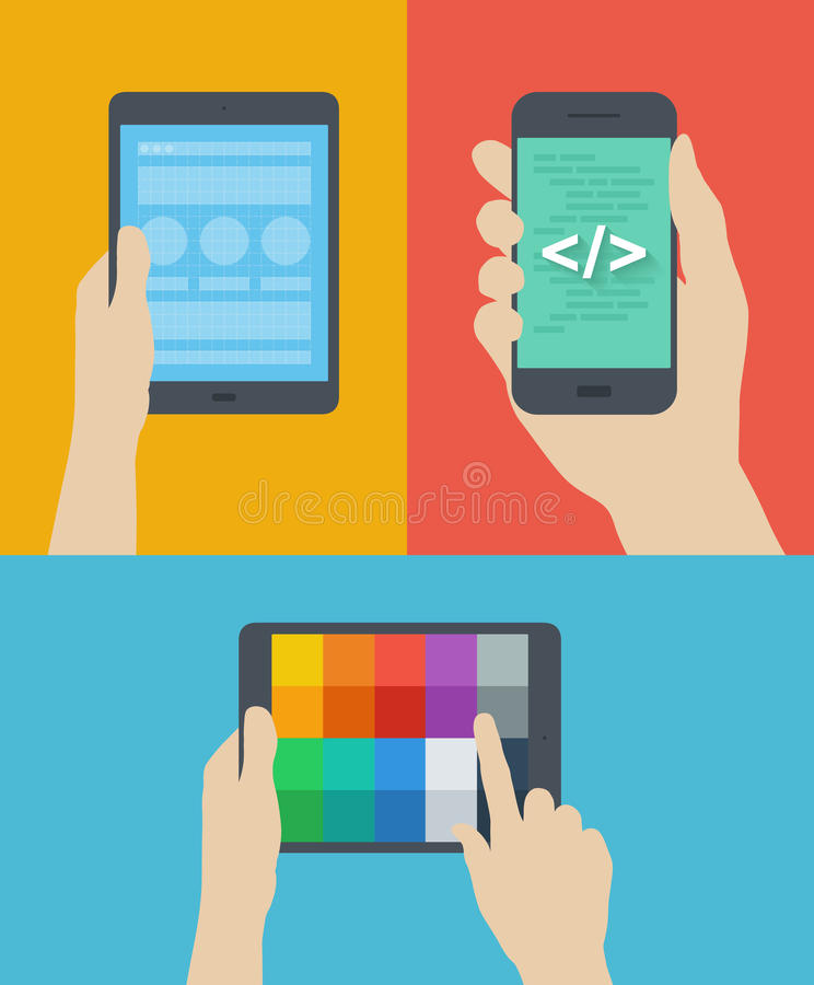 Mobile web design flat illustration vector illustration