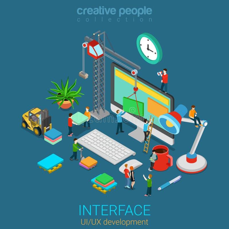 Mobile web design UI UX GUI interface flat 3d isometric vector. Flat 3d isometric mobile UI/UX GUI design web infographic concept vector. Crane people creating vector illustration