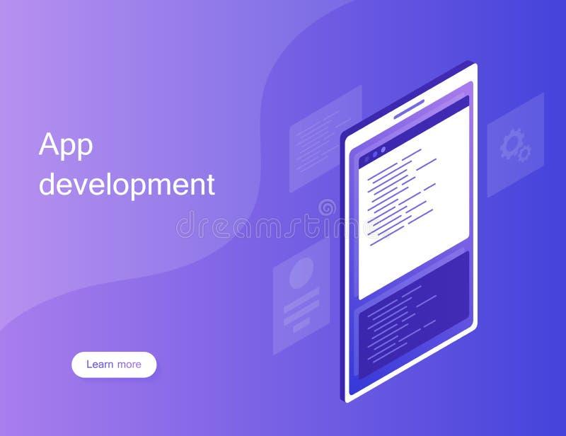 Mobile web development concept, mobile app . Modern Flat isometric style illustration stock photo