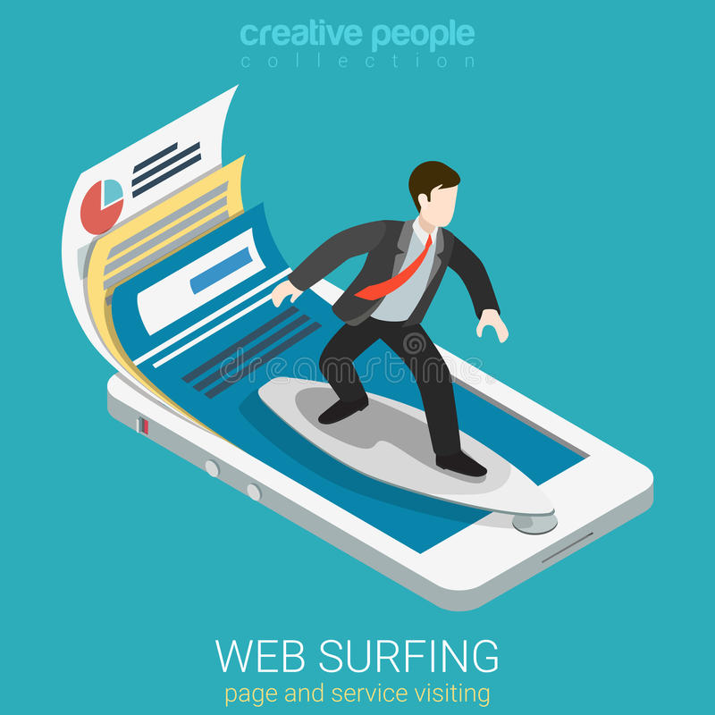 Mobile web surfer infographics flat 3d vector isometric royalty free illustration